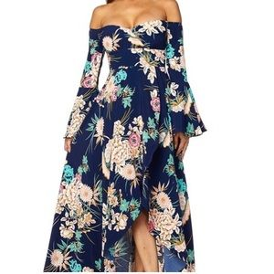 Long floral navy peach dress
